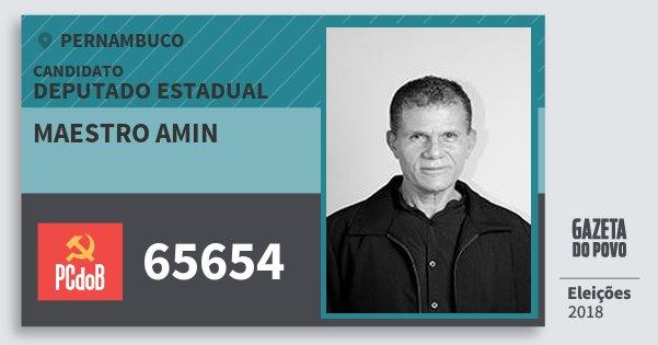 Santinho Maestro Amin 65654 (PC do B) Deputado Estadual | Pernambuco | Eleições 2018