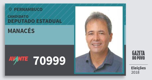 Santinho Manacés 70999 (AVANTE) Deputado Estadual | Pernambuco | Eleições 2018