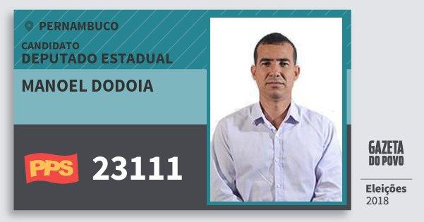 Santinho Manoel Dodoia 23111 (PPS) Deputado Estadual | Pernambuco | Eleições 2018