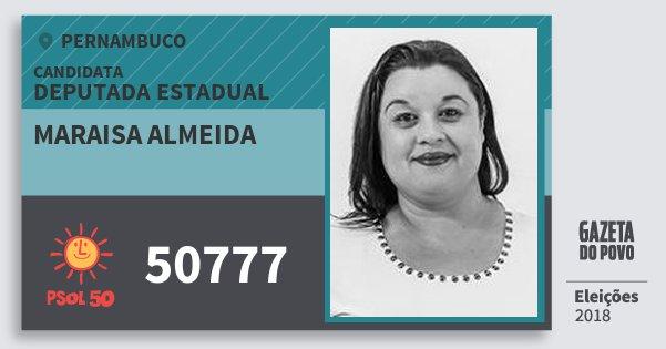 Santinho Maraisa Almeida 50777 (PSOL) Deputada Estadual | Pernambuco | Eleições 2018
