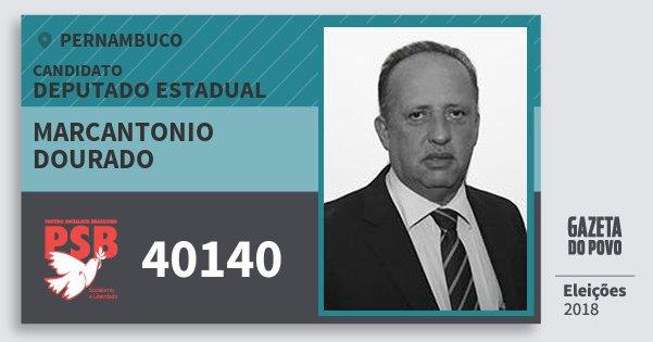 Santinho Marcantonio Dourado 40140 (PSB) Deputado Estadual | Pernambuco | Eleições 2018