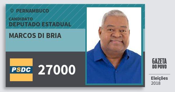 Santinho Marcos di Bria 27000 (DC) Deputado Estadual | Pernambuco | Eleições 2018