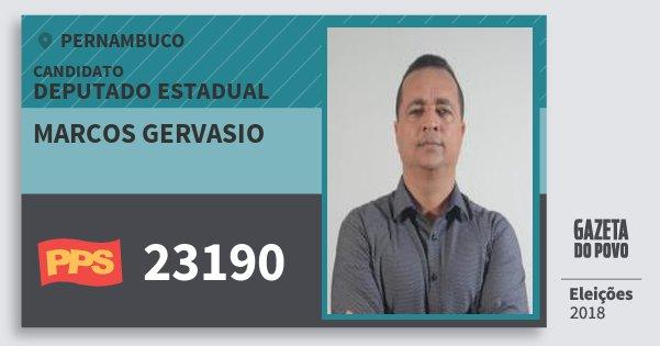 Santinho Marcos Gervasio 23190 (PPS) Deputado Estadual | Pernambuco | Eleições 2018