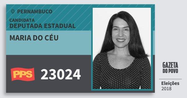 Santinho Maria do Céu 23024 (PPS) Deputada Estadual | Pernambuco | Eleições 2018