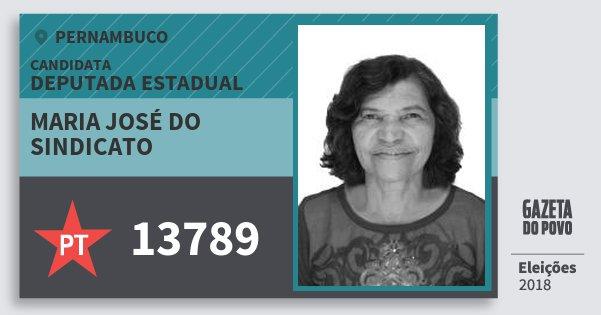 Santinho Maria José do Sindicato 13789 (PT) Deputada Estadual   Pernambuco   Eleições 2018