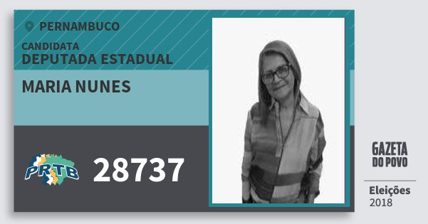 Santinho Maria Nunes 28737 (PRTB) Deputada Estadual | Pernambuco | Eleições 2018