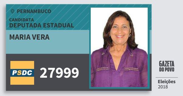 Santinho Maria Vera 27999 (DC) Deputada Estadual | Pernambuco | Eleições 2018