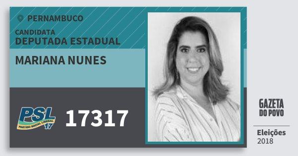Santinho Mariana Nunes 17317 (PSL) Deputada Estadual | Pernambuco | Eleições 2018
