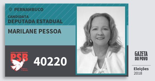 Santinho Marilane Pessoa 40220 (PSB) Deputada Estadual | Pernambuco | Eleições 2018