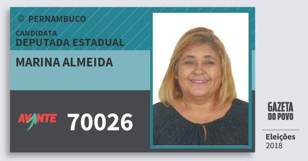 Santinho Marina Almeida 70026 (AVANTE) Deputada Estadual | Pernambuco | Eleições 2018
