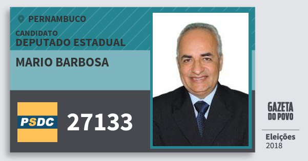 Santinho Mario Barbosa 27133 (DC) Deputado Estadual | Pernambuco | Eleições 2018