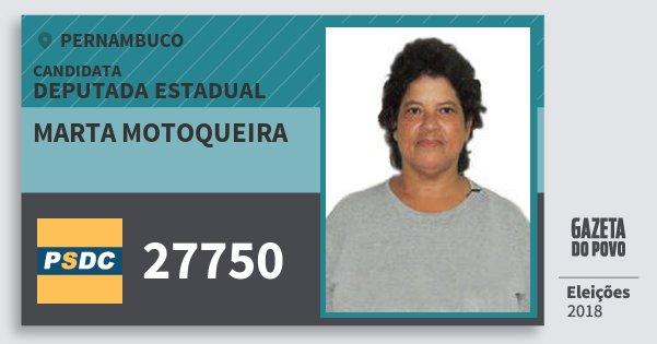 Santinho Marta Motoqueira 27750 (DC) Deputada Estadual | Pernambuco | Eleições 2018