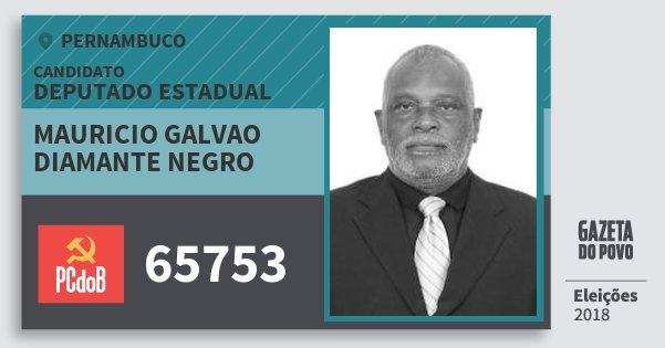 Santinho Mauricio Galvao Diamante Negro 65753 (PC do B) Deputado Estadual | Pernambuco | Eleições 2018