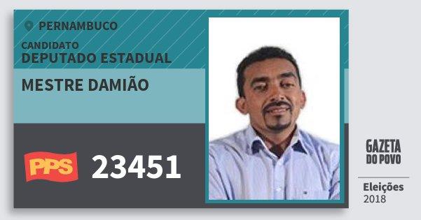 Santinho Mestre Damião 23451 (PPS) Deputado Estadual | Pernambuco | Eleições 2018