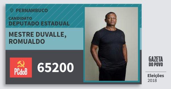 Santinho Mestre Duvalle, Romualdo 65200 (PC do B) Deputado Estadual | Pernambuco | Eleições 2018
