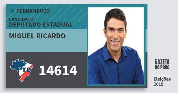Santinho Miguel Ricardo 14614 (PTB) Deputado Estadual | Pernambuco | Eleições 2018