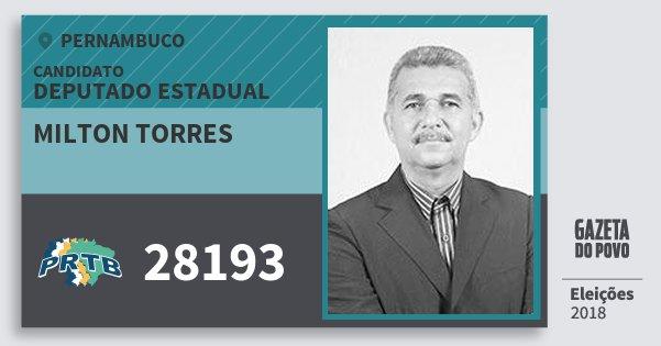 Santinho Milton Torres 28193 (PRTB) Deputado Estadual | Pernambuco | Eleições 2018
