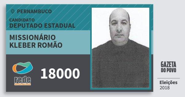 Santinho Missionário Kleber Romão 18000 (REDE) Deputado Estadual | Pernambuco | Eleições 2018