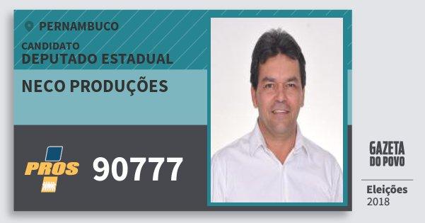 Santinho Neco Produções 90777 (PROS) Deputado Estadual   Pernambuco   Eleições 2018
