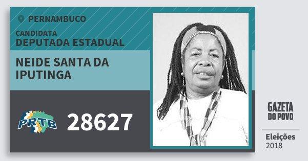 Santinho Neide Santa da Iputinga 28627 (PRTB) Deputada Estadual | Pernambuco | Eleições 2018