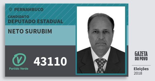 Santinho Neto Surubim 43110 (PV) Deputado Estadual | Pernambuco | Eleições 2018