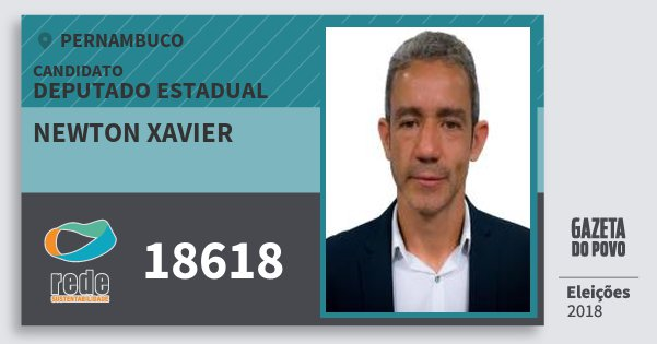 Santinho Newton Xavier 18618 (REDE) Deputado Estadual | Pernambuco | Eleições 2018