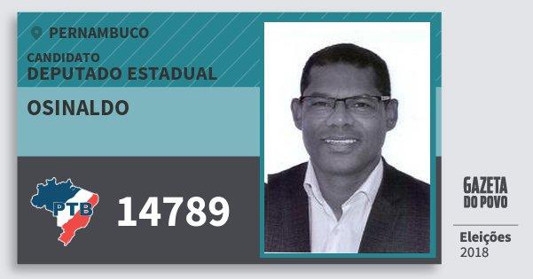 Santinho Osinaldo 14789 (PTB) Deputado Estadual | Pernambuco | Eleições 2018