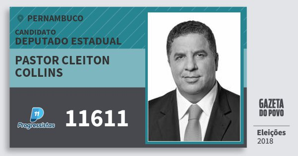 Santinho Pastor Cleiton Collins 11611 (PP) Deputado Estadual | Pernambuco | Eleições 2018