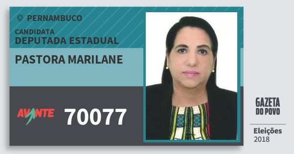 Santinho Pastora Marilane 70077 (AVANTE) Deputada Estadual | Pernambuco | Eleições 2018