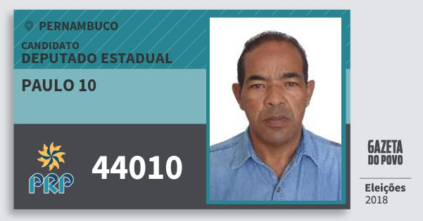 Santinho Paulo 10 44010 (PRP) Deputado Estadual | Pernambuco | Eleições 2018