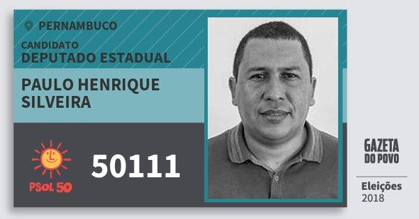 Santinho Paulo Henrique Silveira 50111 (PSOL) Deputado Estadual | Pernambuco | Eleições 2018