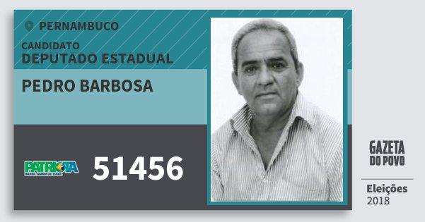 Santinho Pedro Barbosa 51456 (PATRI) Deputado Estadual | Pernambuco | Eleições 2018