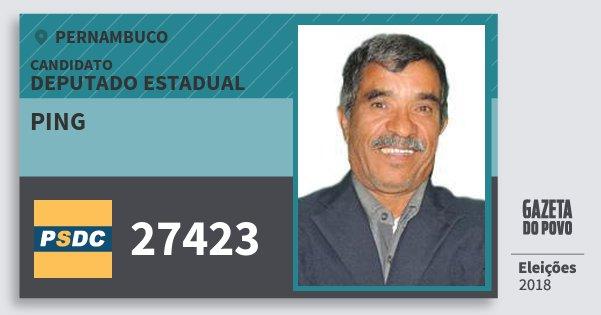 Santinho Ping 27423 (DC) Deputado Estadual | Pernambuco | Eleições 2018