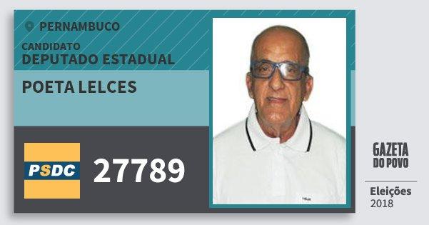Santinho Poeta Lelces 27789 (DC) Deputado Estadual | Pernambuco | Eleições 2018