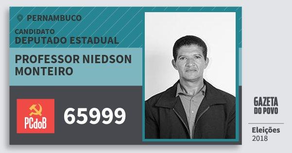 Santinho Professor Niedson Monteiro 65999 (PC do B) Deputado Estadual | Pernambuco | Eleições 2018