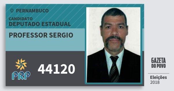 Santinho Professor Sergio 44120 (PRP) Deputado Estadual | Pernambuco | Eleições 2018