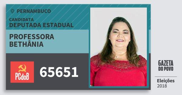 Santinho Professora Bethânia 65651 (PC do B) Deputada Estadual | Pernambuco | Eleições 2018