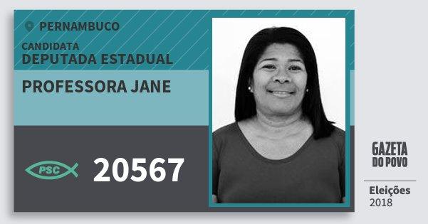 Santinho Professora Jane 20567 (PSC) Deputada Estadual | Pernambuco | Eleições 2018