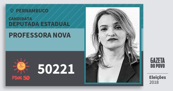 Santinho Professora Nova 50221 (PSOL) Deputada Estadual | Pernambuco | Eleições 2018