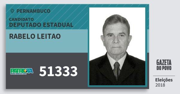 Santinho Rabelo Leitao 51333 (PATRI) Deputado Estadual | Pernambuco | Eleições 2018