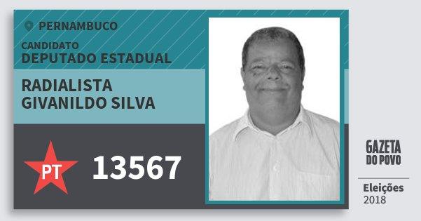 Santinho Radialista Givanildo Silva 13567 (PT) Deputado Estadual | Pernambuco | Eleições 2018