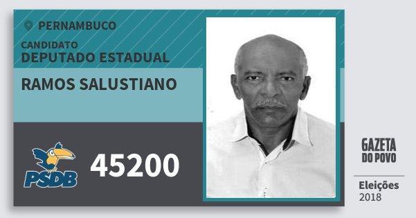 Santinho Ramos Salustiano 45200 (PSDB) Deputado Estadual | Pernambuco | Eleições 2018