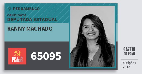 Santinho Ranny Machado 65095 (PC do B) Deputada Estadual | Pernambuco | Eleições 2018