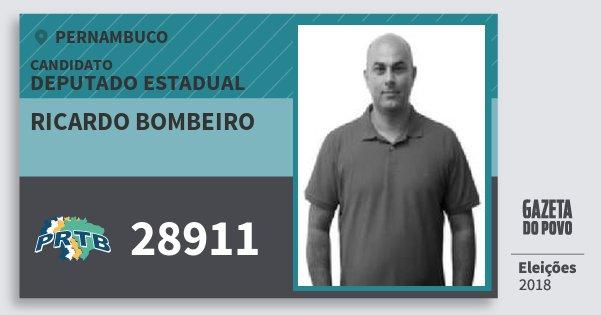 Santinho Ricardo Bombeiro 28911 (PRTB) Deputado Estadual | Pernambuco | Eleições 2018