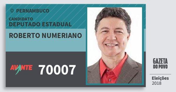 Santinho Roberto Numeriano 70007 (AVANTE) Deputado Estadual   Pernambuco   Eleições 2018
