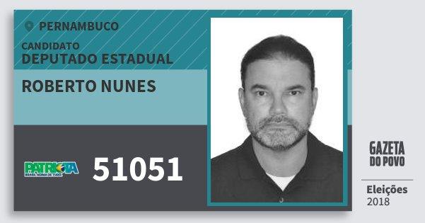 Santinho Roberto Nunes 51051 (PATRI) Deputado Estadual | Pernambuco | Eleições 2018