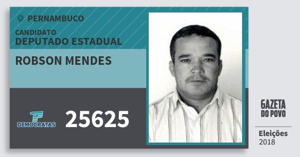 Santinho Robson Mendes 25625 (DEM) Deputado Estadual | Pernambuco | Eleições 2018