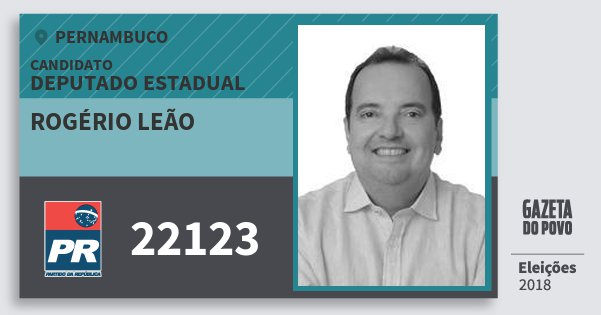 Santinho Rogério Leão 22123 (PR) Deputado Estadual | Pernambuco | Eleições 2018