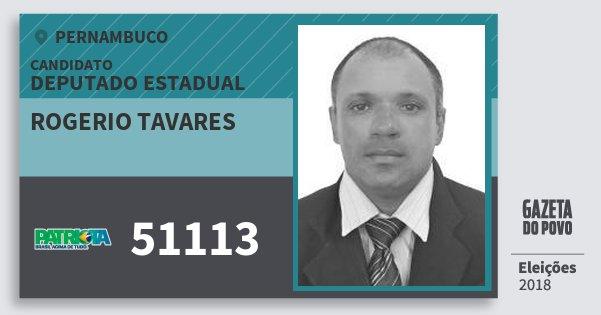 Santinho Rogerio Tavares 51113 (PATRI) Deputado Estadual | Pernambuco | Eleições 2018
