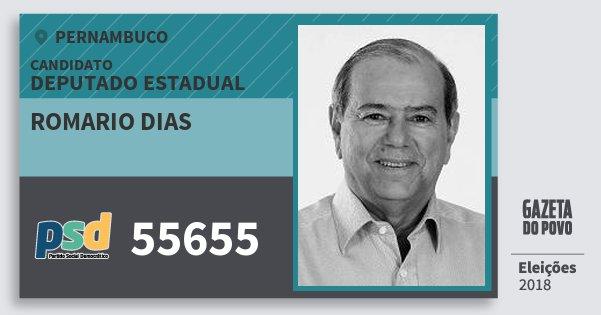 Santinho Romario Dias 55655 (PSD) Deputado Estadual | Pernambuco | Eleições 2018